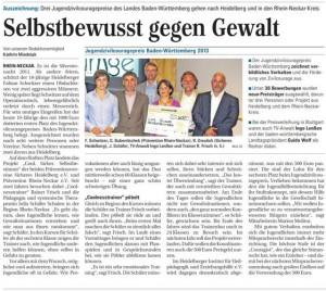 """""""Cool. Sicher. Selbstbestimmt"""" erhält Auszeichnung beim Jugendzivilcouragepreis Baden-Württemberg 2013"""